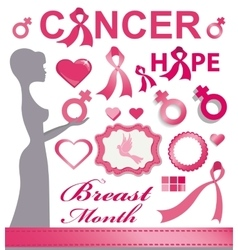 Breast cancer awarenes pink ribbonsbadgesdecor vector