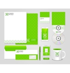 Eco green corporate identity template vector image