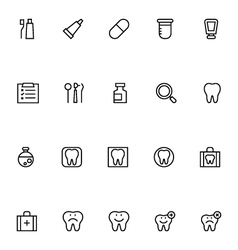 Dental line icons 1 vector