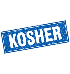 Kosher blue square grunge stamp on white vector