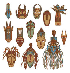 Hand drawn african masks vector