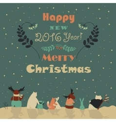 Animals celebrating Christmas vector image vector image