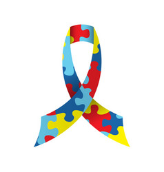 Autism awareness ribbon isolated vector