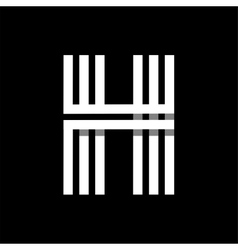 Capital letter h made of three white stripes vector