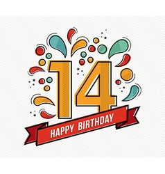 Colorful happy birthday number 14 flat line design vector image