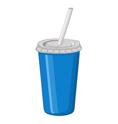 disposable cup with drinking straw vector image vector image