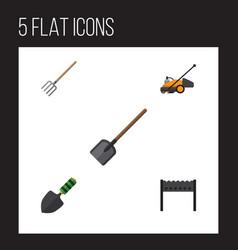 Flat icon garden set of barbecue hay fork shovel vector