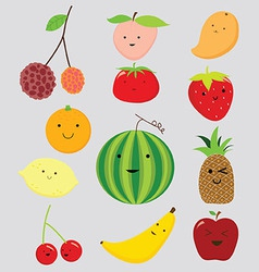 Funny fruits collection vector