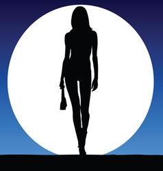 girl sexy on a moonlight color vector image vector image