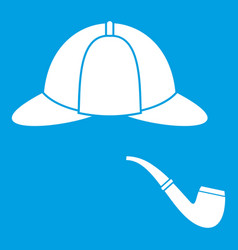 Hat and pipe icon white vector