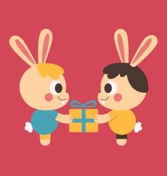 Homosexual bunny couple trading a present vector