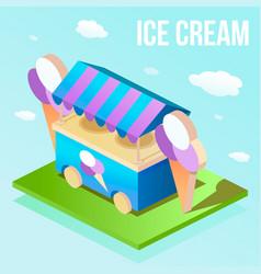 Isometric illuatration of street ice cream shop vector