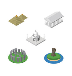 isometric travel set of egypt chile athens and vector image
