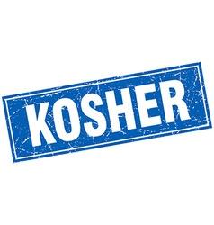 Kosher blue square grunge stamp on white vector