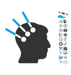 Neural Interface Icon With Air Drone Tools Bonus vector image vector image