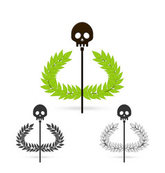 Olive branch with skull symbol of greek god hades vector