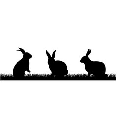 rabbits with grass vector image vector image