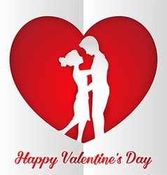 Romantic couple inside paper heart vector