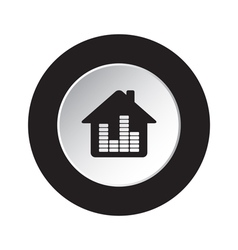 Round blackwhite button-house with equalizer icon vector