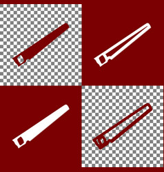 Saw simple sign bordo and white icons and vector