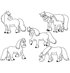 set of cute cartoon horses vector image