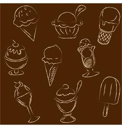 Set of ice creams sketches vector