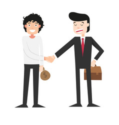 shaking hands with businessman vector image vector image