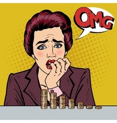 Stressed woman with her last savings pop art vector