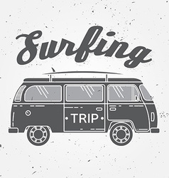 Surf trip concept summer surfing retro badge beach vector