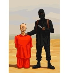 Terrorist executioner and his victim vector