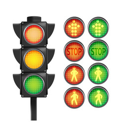 traffic light red yellow green isolate vector image vector image