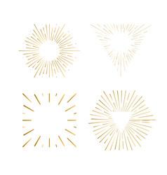 Tribal boho sunburst frames gold hipster logo vector