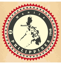 Vintage label-sticker cards of philippines vector