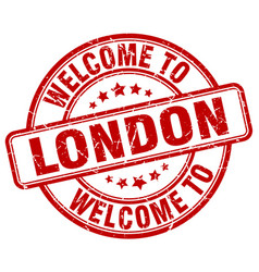 Welcome to london red round vintage stamp vector