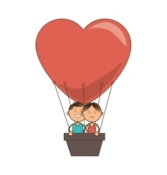 Hot air balloon love couple vector