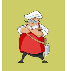 Cartoon serious mustachioed chef with a hatchet vector