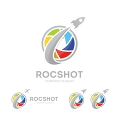 rocket and camera shutter logo vector image