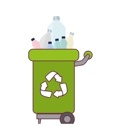 Garbage bin with plastic bottles vector
