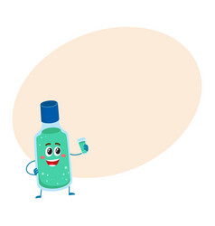 Cute and funny dental mouthwash mouth rinse vector