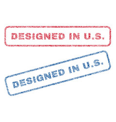 Designed in us textile stamps vector