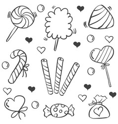 Doodle of sweet candy element various vector