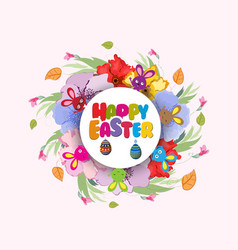 easter background with cute bunny vector image
