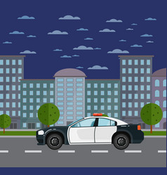 Police car on road in urban landscape vector