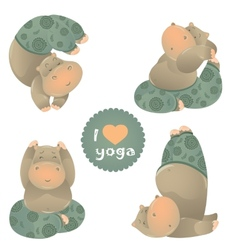 Cute animal of yoga pose vector