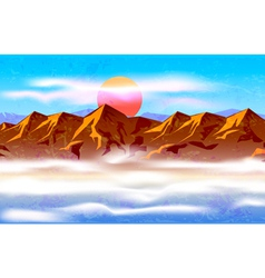 Peaks in the haze and clouds vector