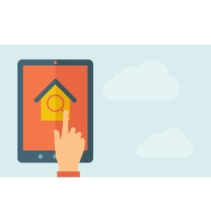 Touch screen tablet with house and window vector