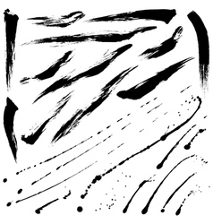 Splatter brushes and brush strokes vector