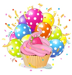 Birthday cupcake with balloons vector