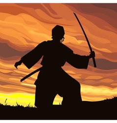 Silhouette striker samurai with sword at sunset vector