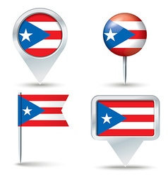 Map pins with flag of puerto rico vector